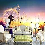 Mrlwy Papel tapiz 3D moderno romántico hermoso atardecer flor de diente de león paisaje foto mural de pared sala de estar TV sofá dormitorio decoración del hogar-120x100CM