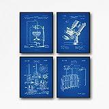 WallBuddy Póster científico para decoración de laboratorio, póster científico, de laboratorio científico, tubos de ensayo de microscopio, Bunsen Burner cience Prints WB380-WB383 (16 x 20, Blueprint)