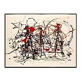 CCZWVH Jackson Pollock □ Expresionismo Abstracto Ensayo □ Lienzo Arte Moderno Pintura al óleo Arte Cartel Cartel Decoración de la Pared Decoración del hogar 20x28 Pulgadas Sin Marco