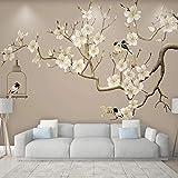 Mrlwy Papel tapiz fotográfico estilo chino pintado a mano con flores y pájaros, murales de flores de Magnolia, sala de estar, estudio, decoración del hogar, fondos de pantalla-250x175CM