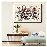 CCZWVH Expresionismo Abstracto Ensayo de Jackson Pollock Canvas Pintura de la Pintura Moderna del Arte de la decoración de la Pared Decoración del hogar 16x24 Inch Sin Marco