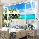 Mrlwy Murales personalizados Papel tapiz Paisaje natural Ventana junto al mar Pintura de pared Sala de estar TV Sofá Decoración para el hogar 3D-400x280CM