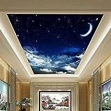 Mrlwy Personalizado 3D Zenith Fresco de techo Moderno Cielo estrellado Luna Naturaleza Papel tapiz Restaurante Clubs KTV Bar Techo Mural Decoración del hogar-400x280CM