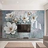 Mrlwy Papel tapiz fotográfico 3D Moda Flores Pintura de pared Estilo europeo Retro Romántico Sala de estar Dormitorio Fondo Pintura de pared-350X250CM