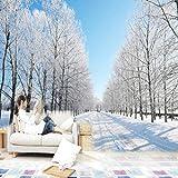 Mrlwy Papel tapiz mural 3D romántico hermoso paisaje de nieve papel tapiz natural sala de estar sofá TV telón de fondo decoración de pared-150x120CM
