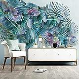 Mrlwy Mural de pared 3D moderno pintado a mano luz de lujo planta tropical hojas foto papel tapiz sala de estar TV sofá-120x100CM