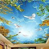 Mrlwy Papel tapiz fotográfico 3D Cielo azul y nubes blancas Techo Zenith Mural Sala de estar Dormitorio Hotel Naturaleza Paisaje Frescos 3D-350X250CM