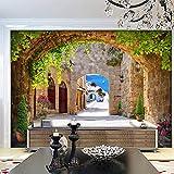 Mrlwy Estilo europeo 3D Estéreo Arcos Ladrillo Piedra Carretera Edificios Murales fotográficos Fondo de TV Pared Decoración del hogar-350X250CM