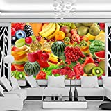 Mrlwy Papel pintado mural personalizado moderno 3D estéreo fruta foto papel de pared cocina tienda de frutas decoración de pared de fondo-250x175CM