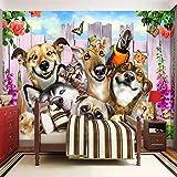 Mrlwy Papel tapiz fotográfico 3D Perro de dibujos animados Murales de animales Niños Dormitorio infantil Fondo Pintura de pared Papeles de pared-350X250CM