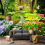 Mrlwy 3D naturaleza flores camino del jardín foto mural papel tapiz sala de estar dormitorio decoración del hogar Fondo pared murales-350X250CM